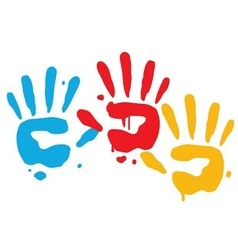 Kid Playful Hand Prints vector