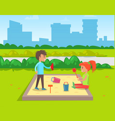 kids playing in sandbox boy girl friends vector image