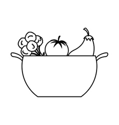 kitchen pot with healthy food isolated icon vector image