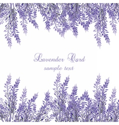 Lavender Card with flowers in watercolor paint vector