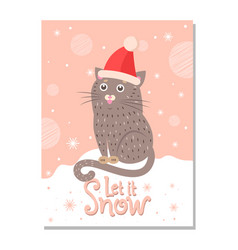 Let it snow poster with handdrawn cat in santa hat vector