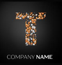 letter t logo gold-silver dots alphabet logotype vector image