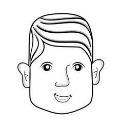 line man head with face and hairstyle vector image