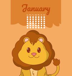 Lion cute calendar cartoon vector
