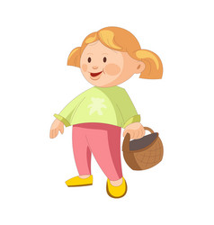 Little girl with blonde hair stands and holds vector