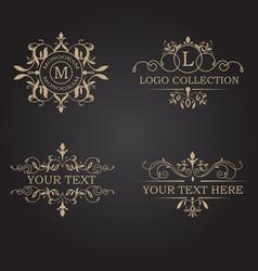Logo frame vintage business tag label banner luxur vector