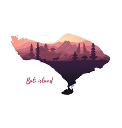 Map island bali with abstract landscape vector