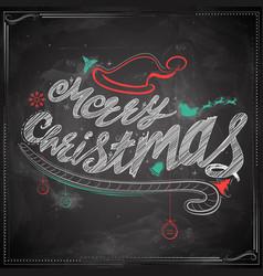 merry christmas chalk lettering design set vector image