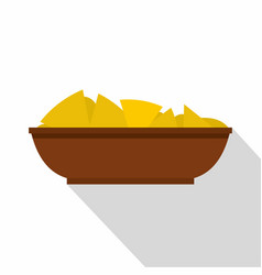 mexican nachos in brown bowl icon flat style vector image