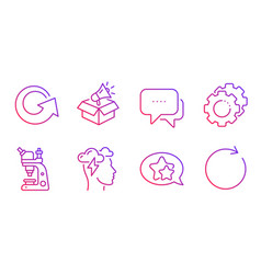 Microscope reload and message icons set vector