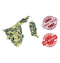 Military camouflage collage of map of brunei and vector