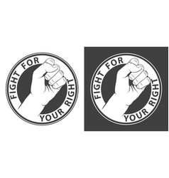 monochrome protest round print with a fist vector image