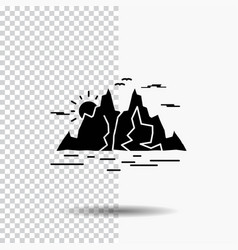 nature hill landscape mountain water glyph icon vector image