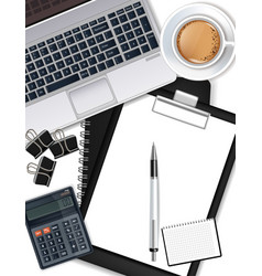 office desk with laptop coffee pen and vector image