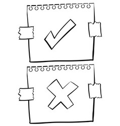 Paper with correct and incorrect signs vector
