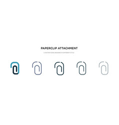 Paperclip attachment icon in different style two vector