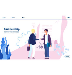 Partnership landing business marketing vector