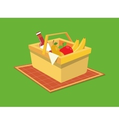 Picnic basket food cartoon vector