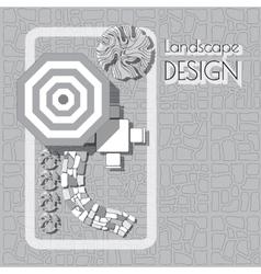 Plan of garden with furniture symbols stones vector