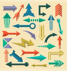 retro arrow symbols set in flat style vector image