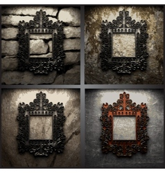 Retro metal frame on dirty wall vector
