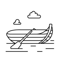 rowing boat line icon vector image