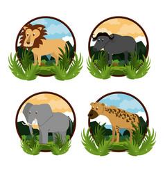Set of wild african animals vector