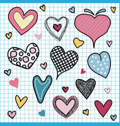 set valentines day hearts love doodles hand vector image