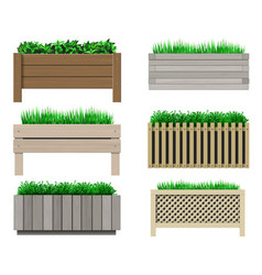 Set wooden pots for plants vector
