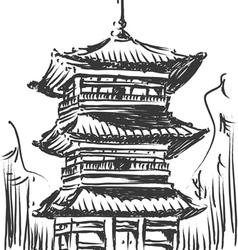 sketch japan landmark kiyomizu temple vector image