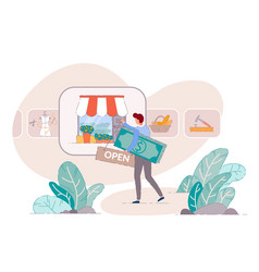 Small business owner open shop vector