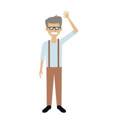 Smiling man in casual clothes waving hand standing vector