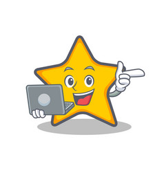 Star character cartoon style with laptop vector