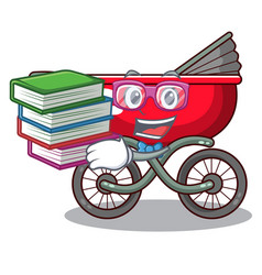 Student with book modern baby stroller isolated vector