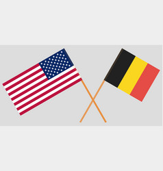 the crossed belgium and usa flags vector image
