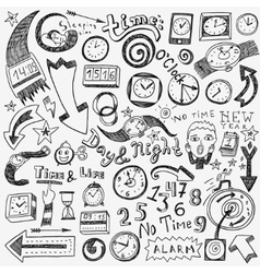 time clock doodles vector image