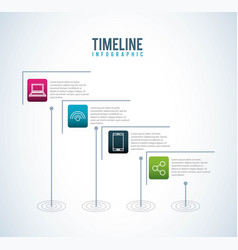 Timeline infographic social media connection vector