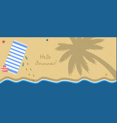 Top view of exotic empty beach with wavy sea edge vector