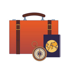 Travel suitcase with passport and compass flat vector