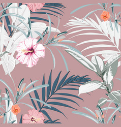 tropical background with jungle plants vector image