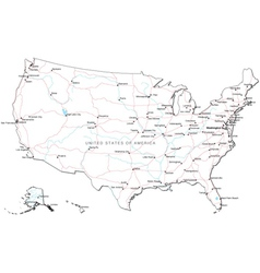 USA Black and White Map vector image
