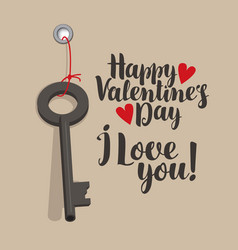 Valentine card with inscriptions key and hearts vector
