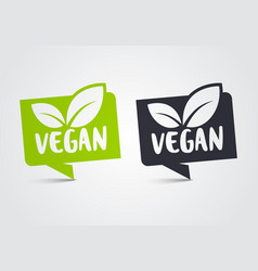 vegan icon set green leaf bio oragnic logo label vector image