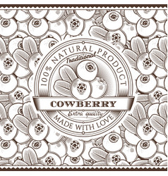 Vintage cowberry label on seamless pattern vector
