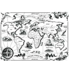 vintage old world map hand draw engraving style vector image