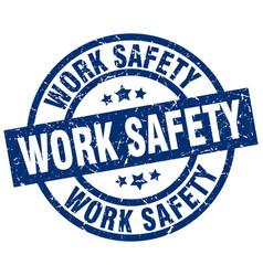 Work safety blue round grunge stamp vector