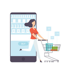 young woman bying products from an online store vector image