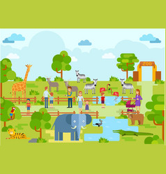 zoo landscape scenery animal holiday attraction vector image