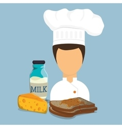 Breakfast girl chef toast syrup cheese milk bottle vector