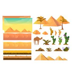 desert seamless background elements cartoon vector image